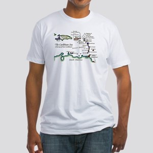 Caribbean Map Fitted T-Shirt