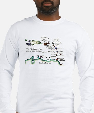 Caribbean Map Long Sleeve T-Shirt