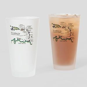 Caribbean Map Drinking Glass