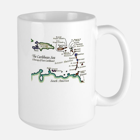 Caribbean Map Large Mug