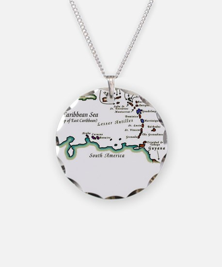 Caribbean Map Necklace Circle Charm