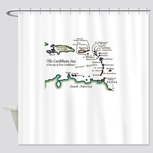 Caribbean Map Shower Curtain