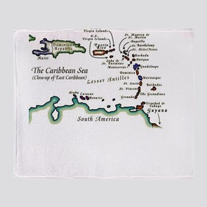 Caribbean Map Throw Blanket