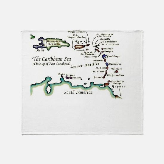 Caribbean Map Throw Blanket