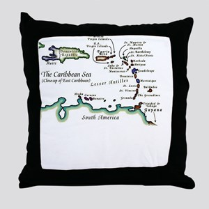 Caribbean Map Throw Pillow