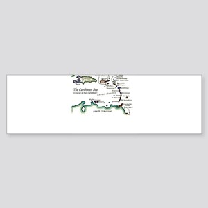 Caribbean Map Sticker (Bumper)