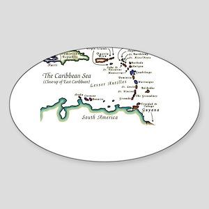 Caribbean Map Sticker (Oval)