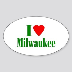 I Love Milwaukee Oval Sticker