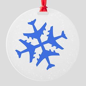 Blue Airplane Round Ornament