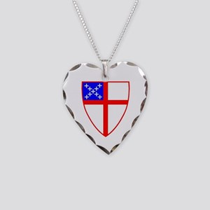 Episcopal Shield Necklace Heart Charm