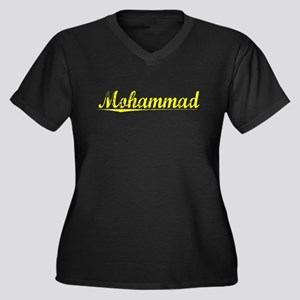Mohammad, Yellow Women's Plus Size V-Neck Dark T-S