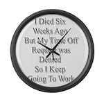 I Died Six Weeks Ago Large Wall Clock