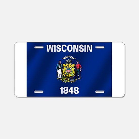 Flag of Wisconsin Aluminum License Plate