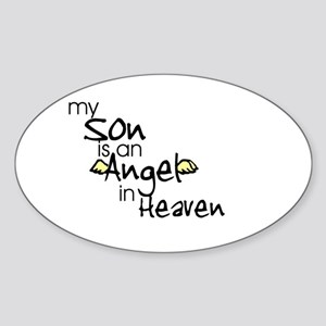 My son is an Angel Oval Sticker