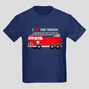 I Heart Fire Trucks! Kids Dark T-Shirt