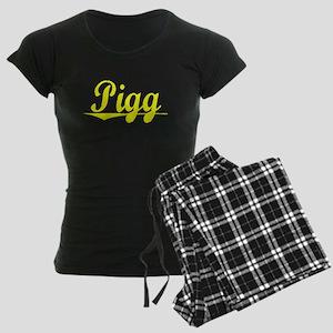 Pigg, Yellow Women's Dark Pajamas