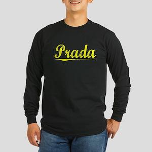 Prada, Yellow Long Sleeve Dark T-Shirt