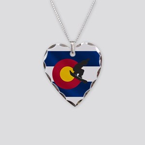 Colorado Snowboard Flag Necklace Heart Charm