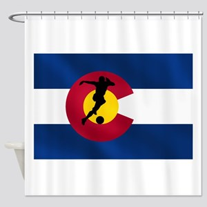Colorado Soccer Flag Shower Curtain