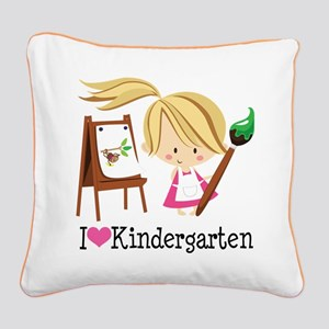 I Heart Kindergarten Square Canvas Pillow