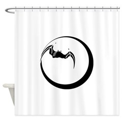Moon and Bat Shower Curtain