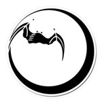 Moon and Bat Round Car Magnet