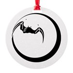 Moon and Bat Round Ornament