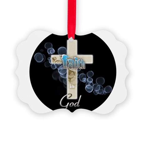 Faith in God gold cross and blue bubbles Picture O