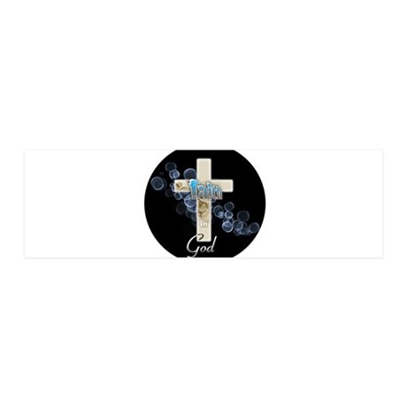 Faith in God gold cross and blue bubbles 36x11 Wal