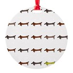 Dachshunds Tiles Round Ornament