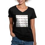 Dachshunds Tiles Women's V-Neck Dark T-Shirt
