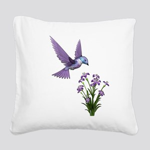 Purple Humming Bird with Flowers Square Canvas Pil