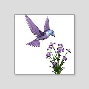 "Purple Humming Bird with Flowers Square Sticker 3"""
