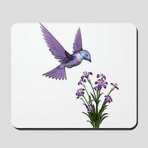 Purple Humming Bird with Flowers Mousepad