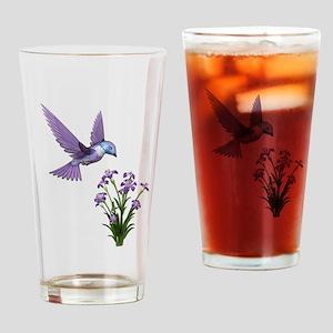 Purple Humming Bird with Flowers Drinking Glass