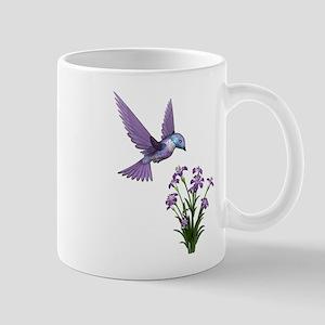 Purple Humming Bird with Flowers Mug