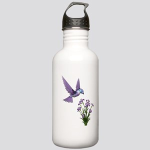 Purple Humming Bird with Flowers Stainless Water B
