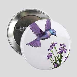 """Purple Humming Bird with Flowers 2.25"""" Button"""