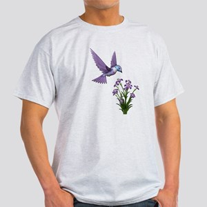 Purple Humming Bird with Flowers Light T-Shirt