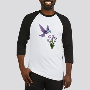 Purple Humming Bird with Flowers Baseball Jersey
