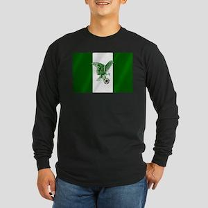 Nigerian Football Flag Long Sleeve Dark T-Shirt