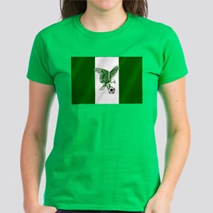Nigerian Football Flag Women's Dark T-Shirt