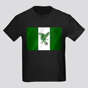 Nigerian Football Flag Kids Dark T-Shirt