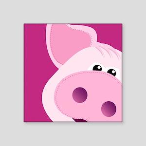 """Happy Piggy Square Sticker 3"""" x 3"""""""