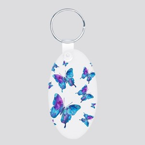 Electric Blue Butterfly Flurry Aluminum Oval Keych