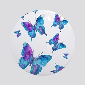 Electric Blue Butterfly Flurry Ornament (Round)