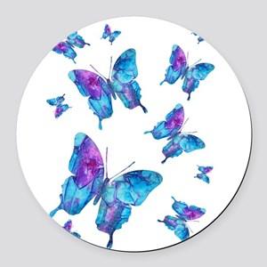 Electric Blue Butterfly Flurry Round Car Magnet