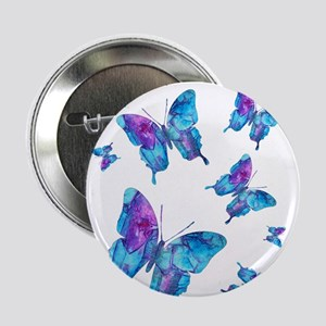 "Electric Blue Butterfly Flurry 2.25"" Button"