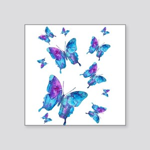 """Electric Blue Butterfly Flurry Square Sticker 3"""" x"""