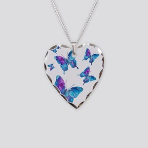 Electric Blue Butterfly Flurry Necklace Heart Char